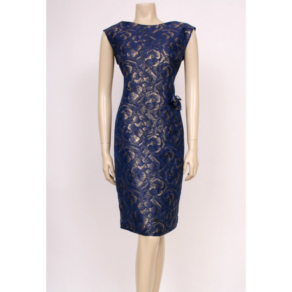 Golden Blue 50\'s Cocktail Dress