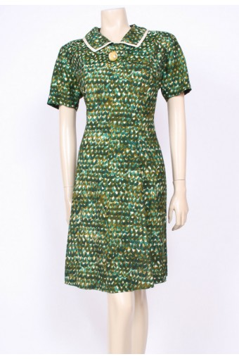 Green Collared 50's Dress
