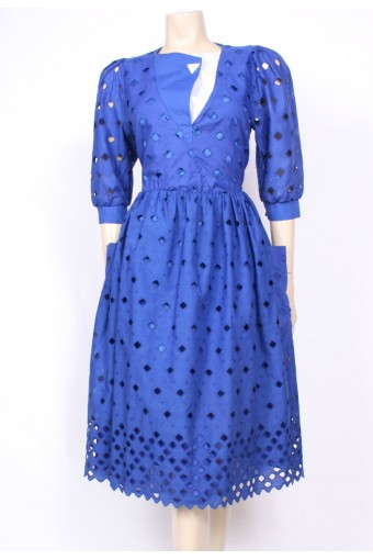 Blue Pockets Cut-Out Dress