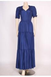 Late 1930's Blue Silk Dress
