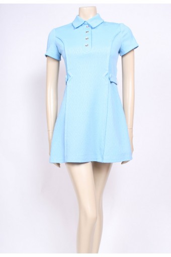 Baby Blue Belted Mod Dress