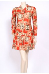 Orange Autumn 70's Dress