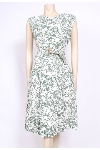 Printed Belted 60's Dress