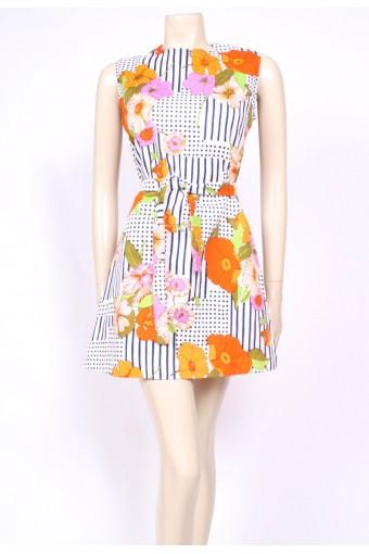 Spotty Flowers Mini Dress