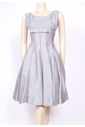 Striped Bow Prom Dress