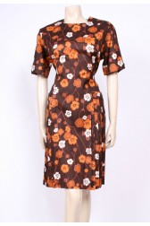 Brown Pleated 50's Dress