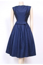 Midnight Blue Satin 50's Dress