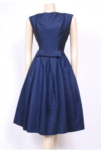 Midnight Blue Satin 50's Dress
