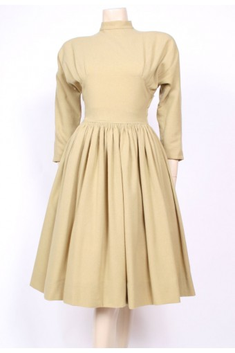 Taupe Wool 50's Dress