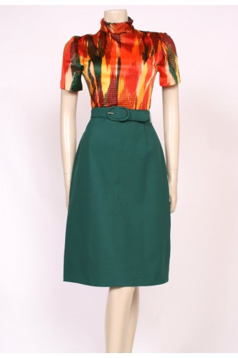 Green & Orange Mod Dress