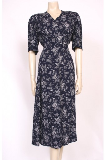 Printed Silk 40's Dress