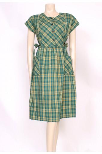 Green Checks Dress