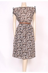 Tan & Black Flower Dress