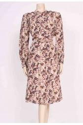 Autumn Feather Print Dress