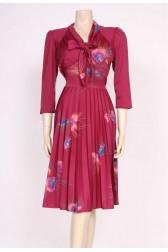 Burgundy Pussy-Bow Dress