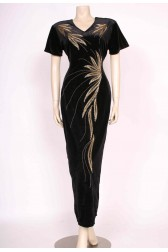 Beaded Velvet Evening Dress