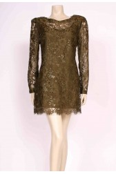 Moss Green Lace Mini Dress