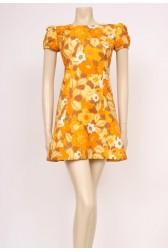 Orange Waffle Mini Mod Dress