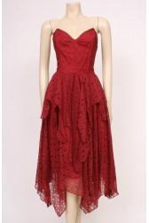 Burgundy Lace Party Dress