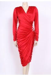 Red Ruched Party Dress