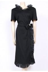 Frilly Bow Black Dress