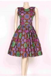 Printed Late 1950's Dress