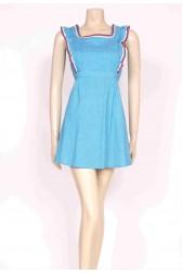 Ruffle Turquoise Mini Dress