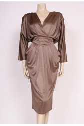Coffee Bat-wing Dress