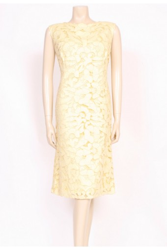 Lemon Guipure Shift Dress