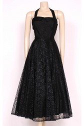 80's Black Lace Party Dress