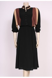 Batwing Brown & Black Dress