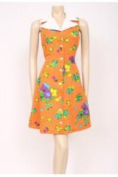Orange Spots 70's Dress
