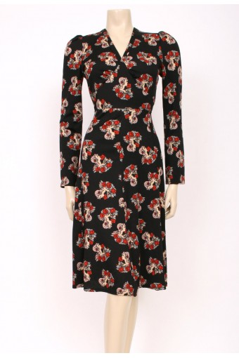Face Print 70's Dress