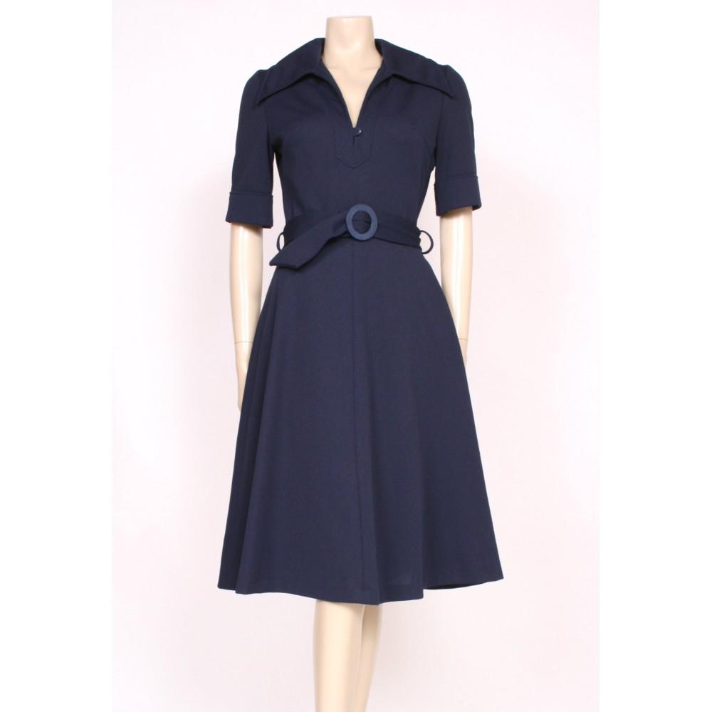 belted navy mod dress