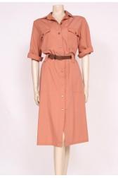 Tan 80's Shirt Dress