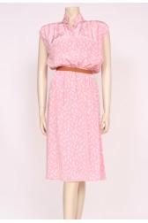 Feather Print Pink Dress