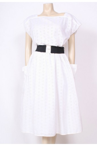 Belted Broderie Angalis Dress