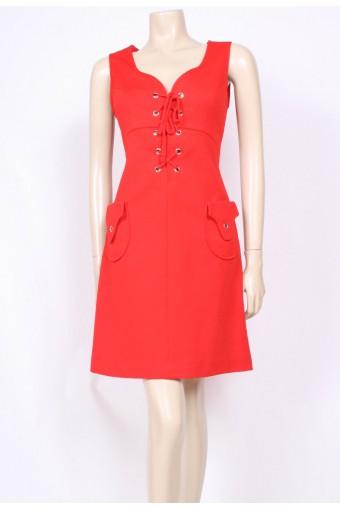 Red Rivets Mod Dress