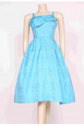 Blue Brocade 50's Dress