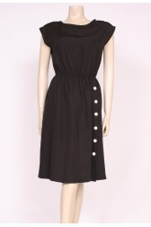 80's Black Buttons Dress