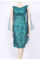 Winged Teal Cocktail Dress