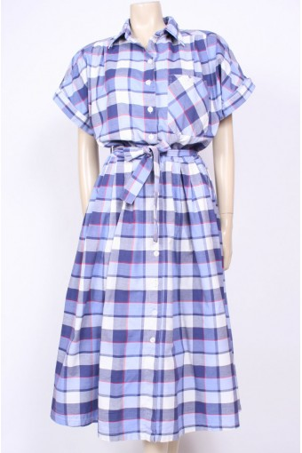 Blue 80's Checks Dress