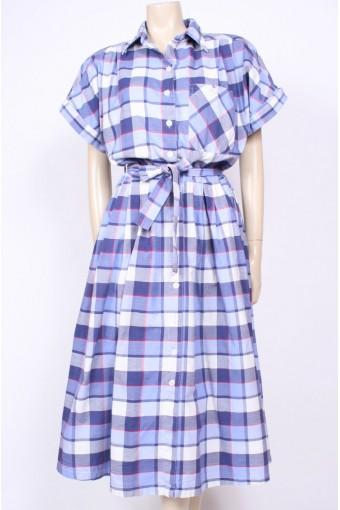 Blue 80's Checks Dress