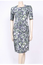 Moss Green & Grey 50's Dress