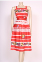 70's Red Stripes Sun Dress