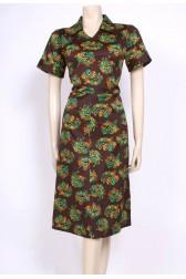 Green & Brown 70's Dress