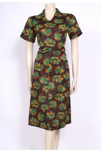 Green & Brown 70's Dress