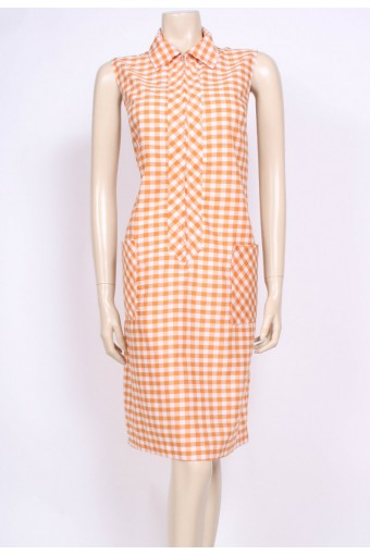 Orange Gingham Mod Dress