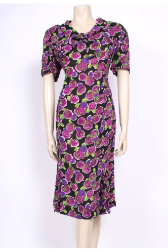 Rayon Rose Print 50's Dress