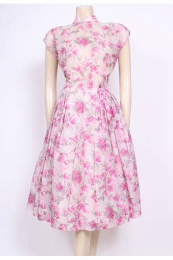 Pink Print Nylon Tea Dress